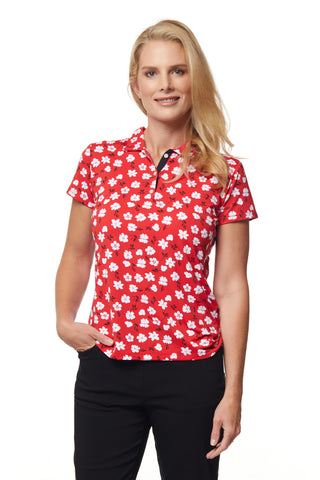 Flora Short Sleeve Print Polo