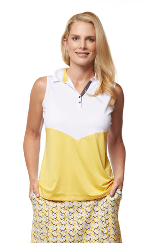 Avery Sleeveless Colorblock Polo