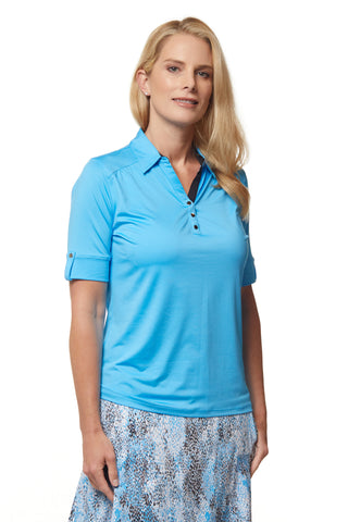 Blu Elbow Sleeve Solid Polo