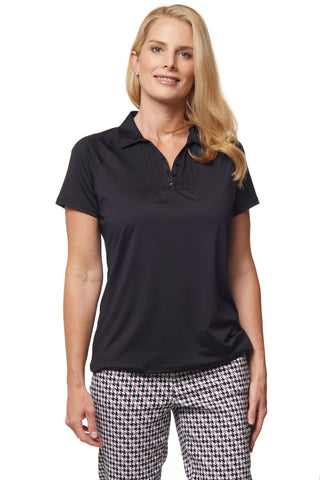 Pilar Short Sleeve Solid Polo - Black
