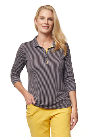 Topper 3/4 Sleeve Stripe Polo
