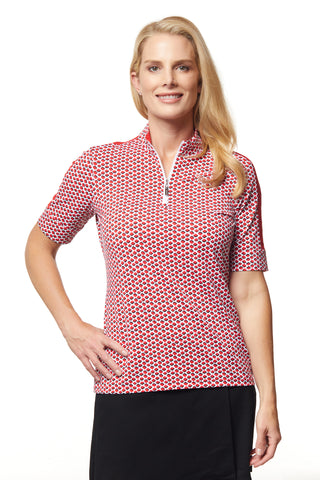Scarlett Elbow Sleeve Print Polo