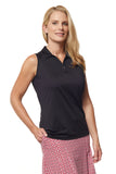 Pilar Sleeveless Solid Polo - Black