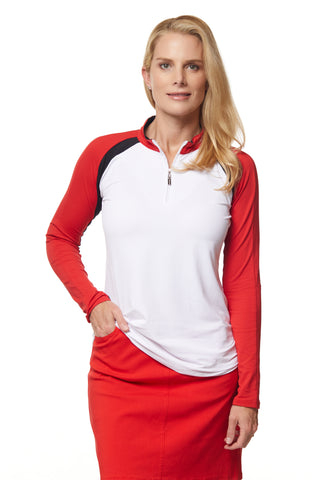Zippie Long Sleeve Colorblock Polo