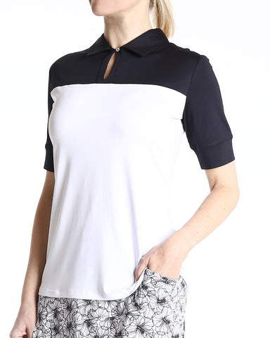 BECCA Short Sleeve Polo - Black/White