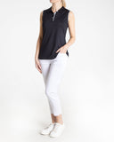 LEXI Sleeveless Solid Polo - Black