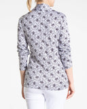 ELSA Long Sleeve Print Polo - White