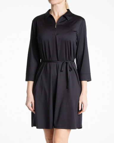 OLIVIA 3/4 Sleeve Shimmer Dress - Black