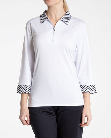 Holly 3/4 Sleeve Shimmer Polo - White