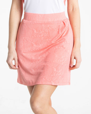 JUBILEE Pull On Jacquard Skirt - Rouge