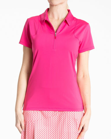 ARIA Short Sleeve Polo - Lipstick