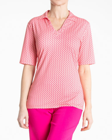 BELLE Elbow Sleeve Print Polo - Rouge