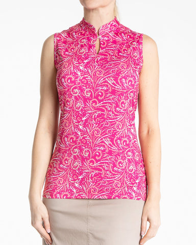 CANCAN Sleeveless Print Polo - Lipstick