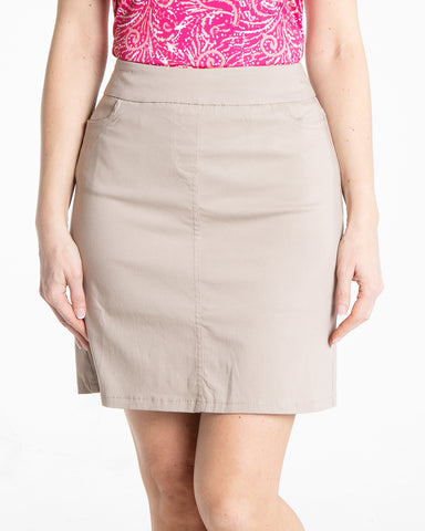 Golf Skort With Front And Back Pockets - Stone