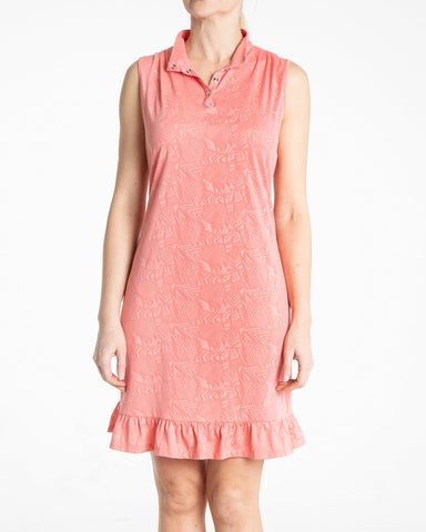JUBILEE Sleeveless Jacquard Dress - Rouge