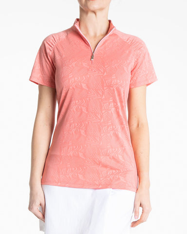 JUBILEE Short Sleeve Jaquard Polo - Rouge