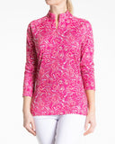 CANCAN Long Sleeve Print Polo - Lipstick