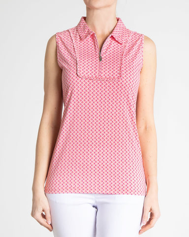 BELLE Sleeveless Print Polo - Rouge