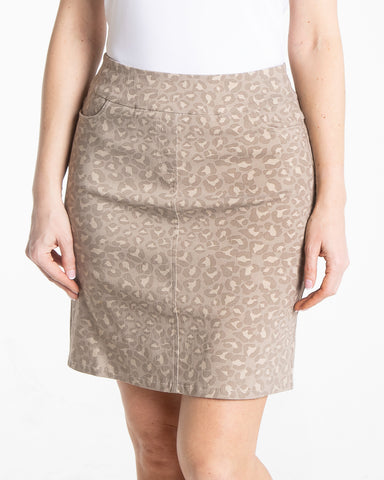 Slimsation Golf Print Skirt - Stone Print