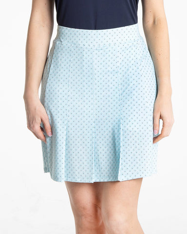 MASIE Pleated Print Skirt - Blue Mist