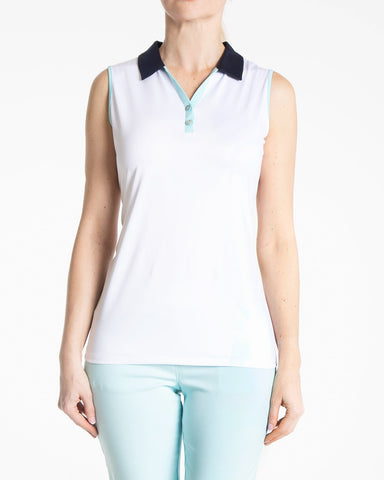 KATE Sleeveless Polo - White