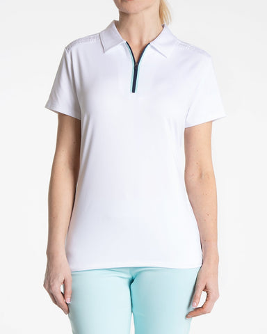 HANNAH Short Sleeve Solid Polo - White