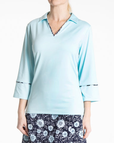 JASMINE 3/4 Sleeve Solid Polo - Blue Mist