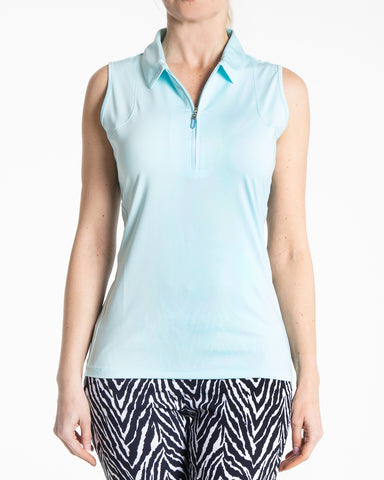 Aria Sleeveless Polo - Blue Mist