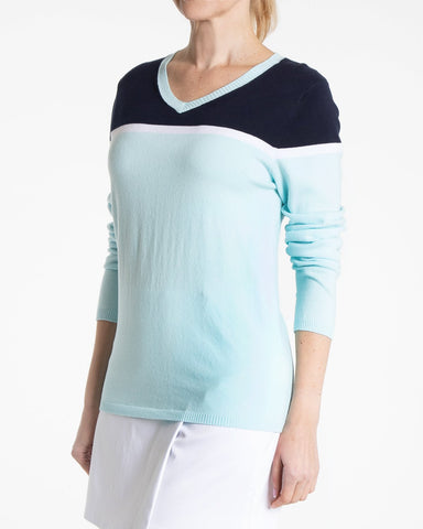 HELENA Long Sleeve Colorblock Sweater - Blue Mist