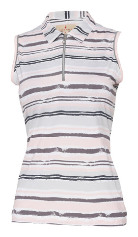 Delilah Sleeveless Print Polo