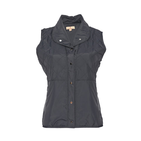Tatum Snap Front Quilted Vest - Charcoal
