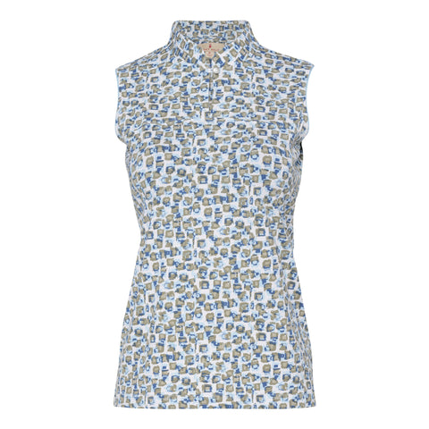 Lenore Sleeveless Print Polo