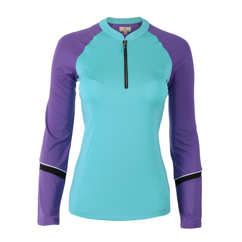 "Suzita ""Haley Cool"" Long Sleeve Colorblock Polo"