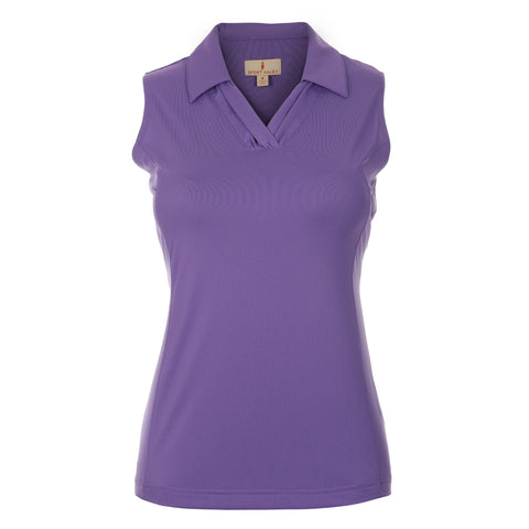 "Violet ""Haley Cool"" Sleeveless Solid Polo"