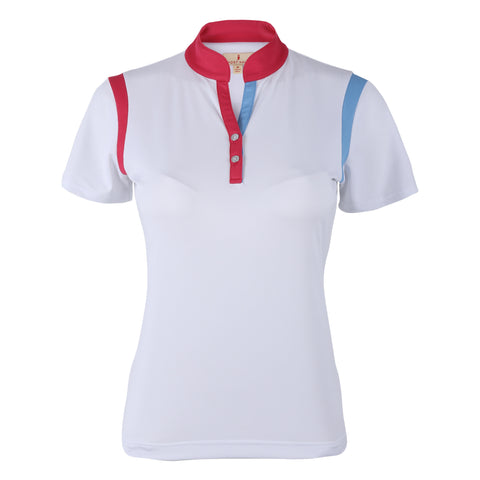 JoJo Color Block Polo With Stand Collar
