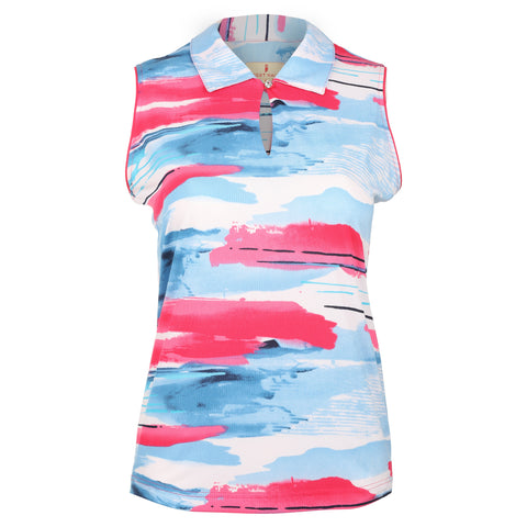 "Horizon ""Haley Cool"" Sleeveless Print Polo"