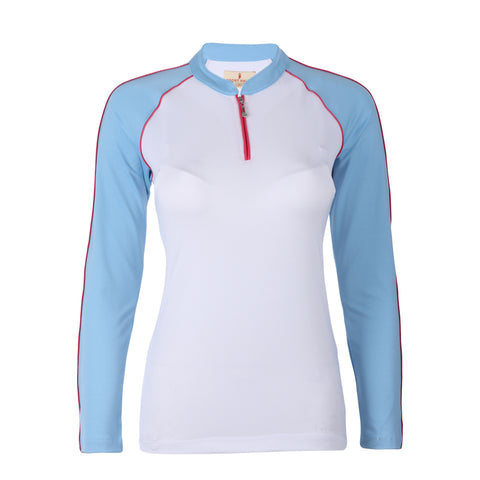 "Brielle ""Haley Tech"" Long Sleeve Colorblock Polo"