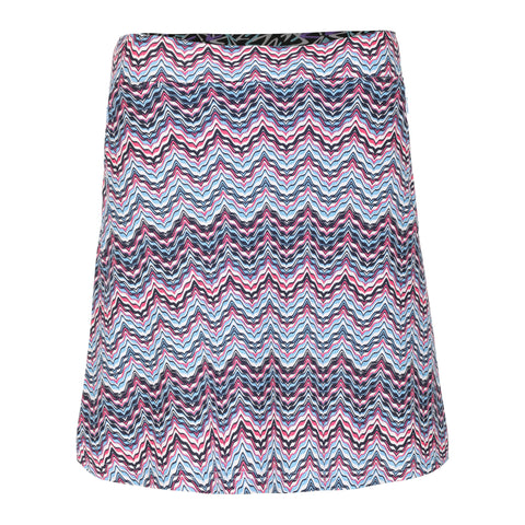 Wave Pull On Print Skirt With Flare, Zip Pockets and Liner