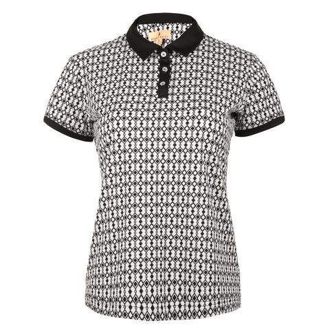 "Liza ""Haley Tech"" Short Sleeve Print Polo"