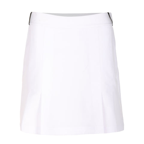 Vanessa Solid Skirt With Contrast (Black) Piping Detail, Rivets and Liner