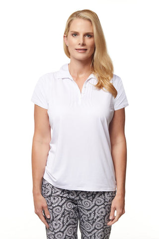 Pilar Short Sleeve Solid Polo - White