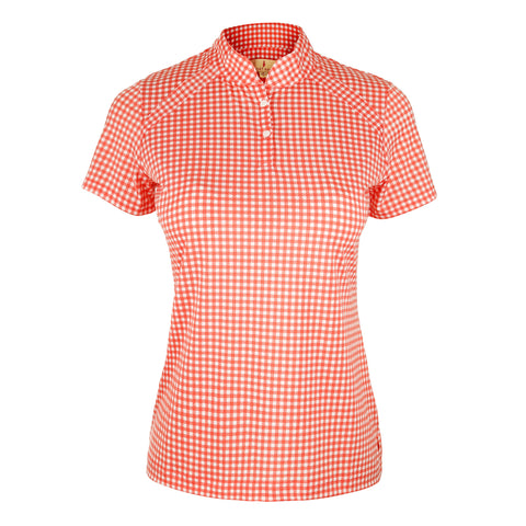"Summer ""Haley Cool"" Short Sleeve Gingham Print Polo"
