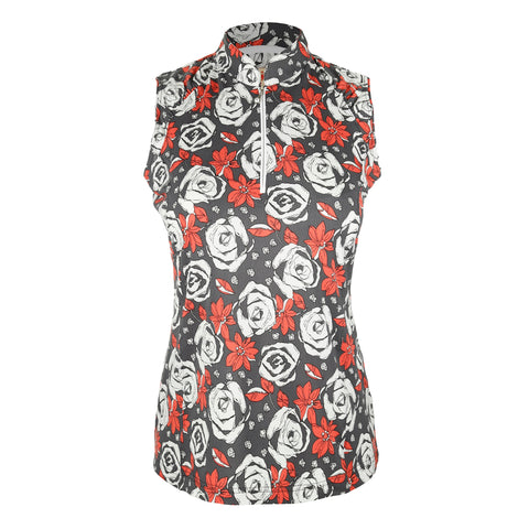"Chloe ""Haley Cool"" Sleeveless Print Polo"
