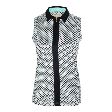 Emma Sleeveless Print Polo
