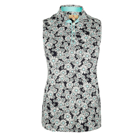 "Aster ""Haley Cool"" Sleeveless Print Polo"