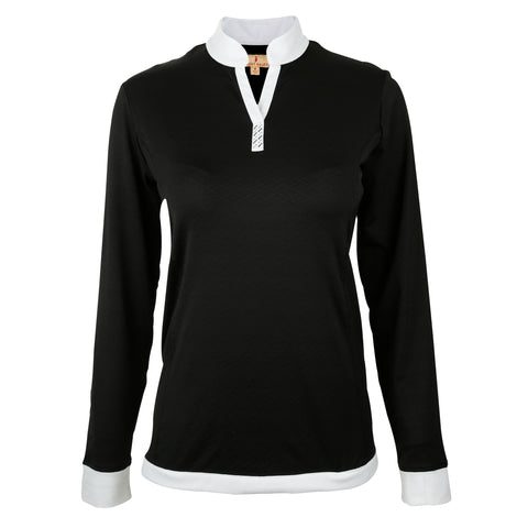 Jewel Long Sleeve Solid Textured Top With Contrast Trim