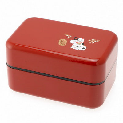 Bento Box with  Red Beckoning Cat.