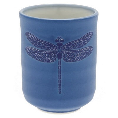 Dragonfly Japanese Tea cup, hand etched in turquoise.