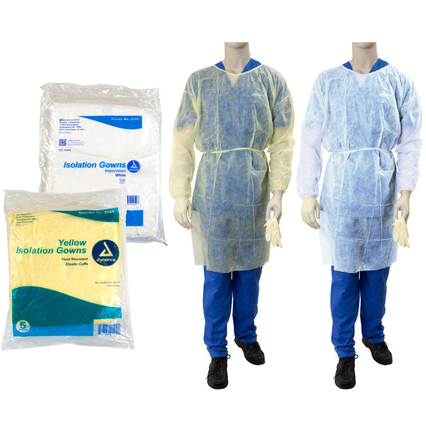 Dynarex Isolation Gown - White with Poly Coated Barrier (case)