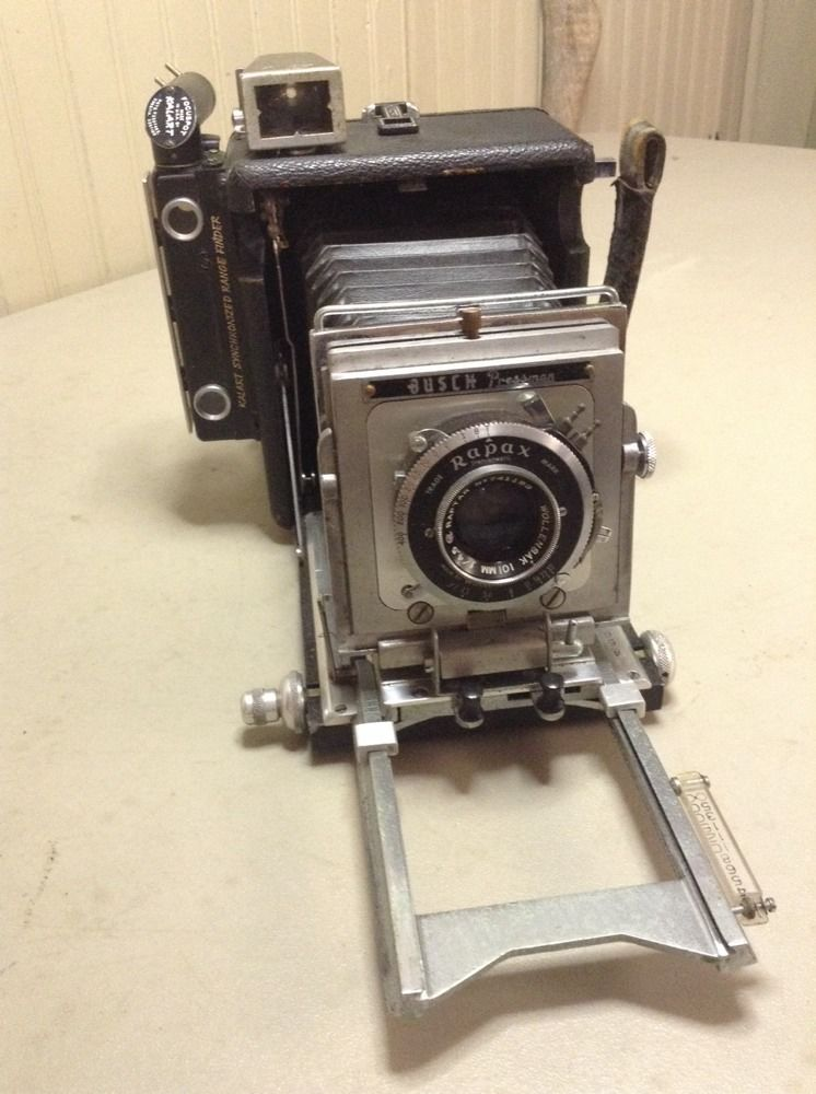 Vintage Antique Busch Pressman Model C Camera W Wollensack Rapax Lens